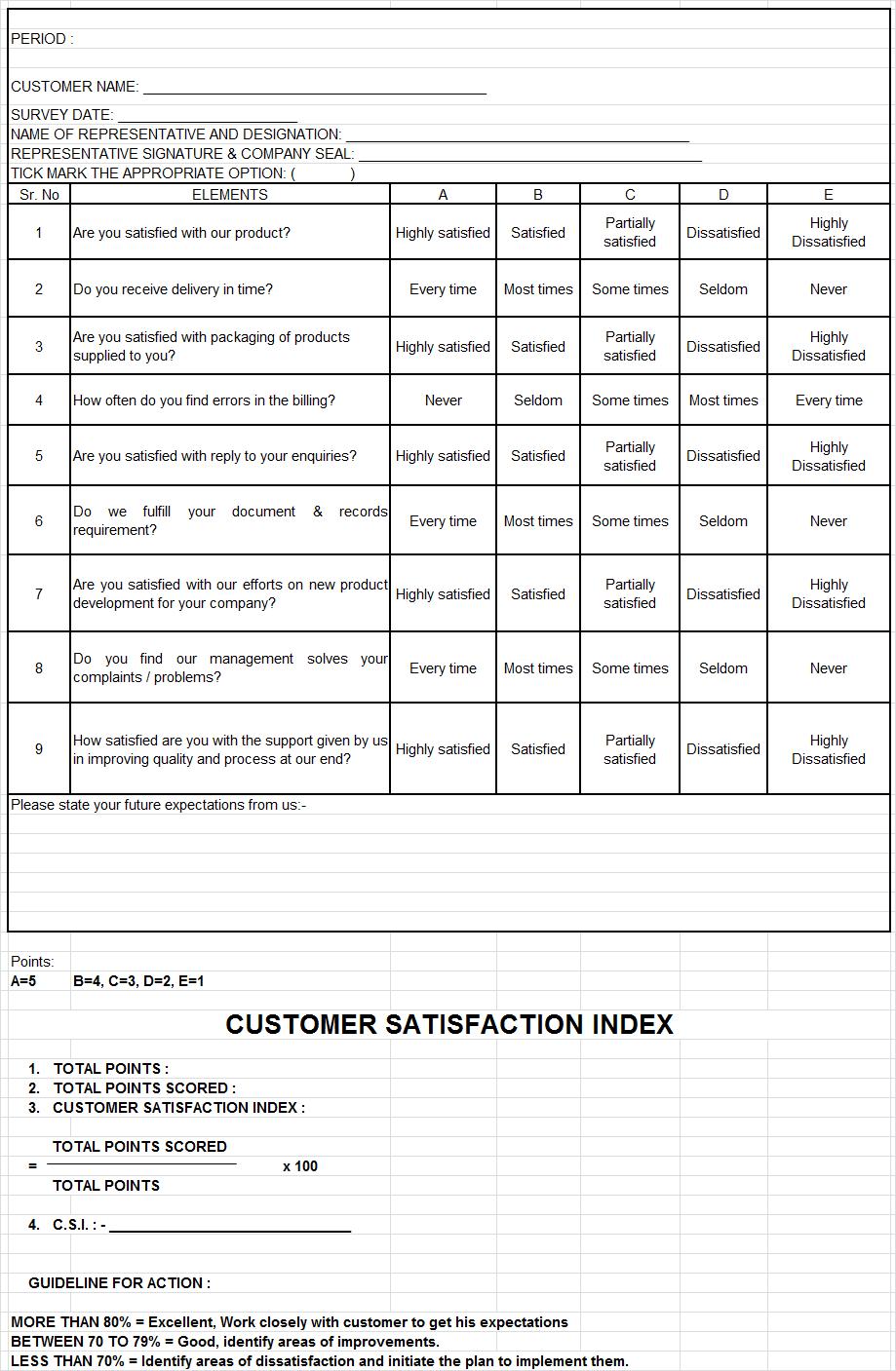 Customer Satifation survey form