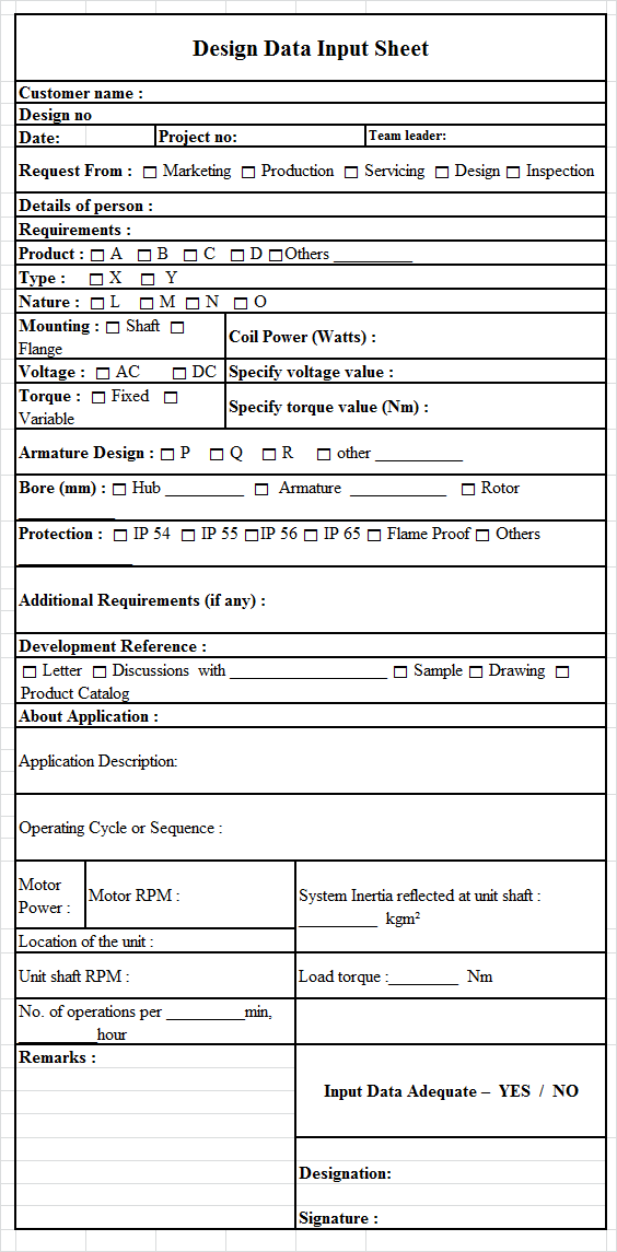 Design Data Input Sheet