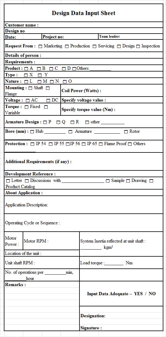Design Data Input Sheet