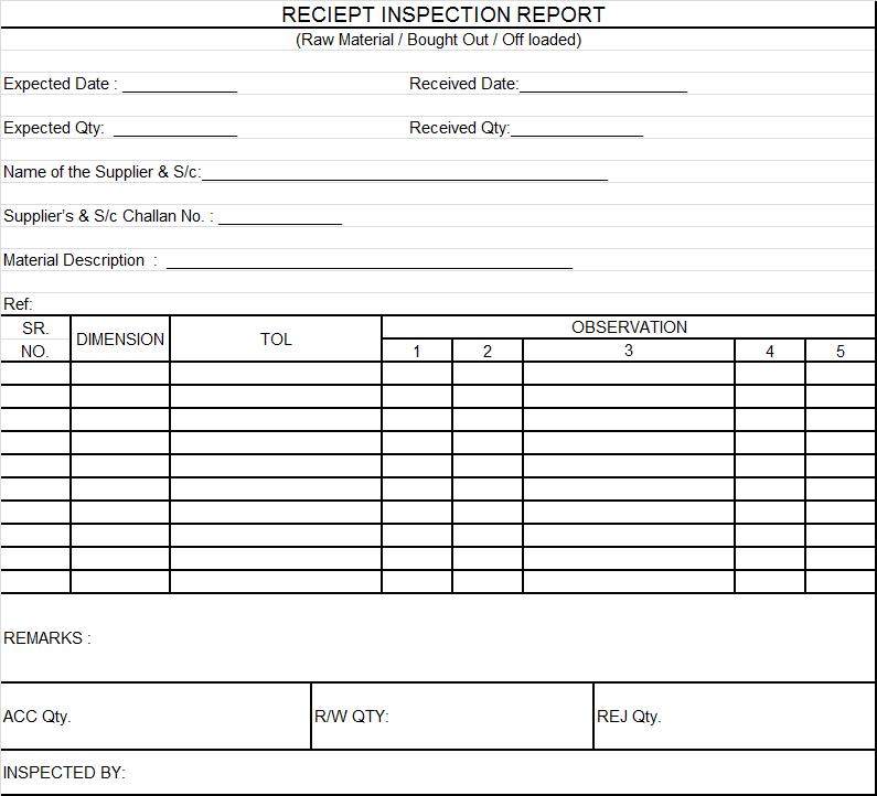 Receipt inspection report